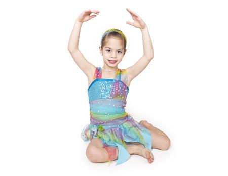 lyrical dance: Cute little dancer girl isolated on white