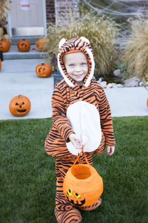 halloween kids: Little Boy in Costume Trick-or-treating on Halloween