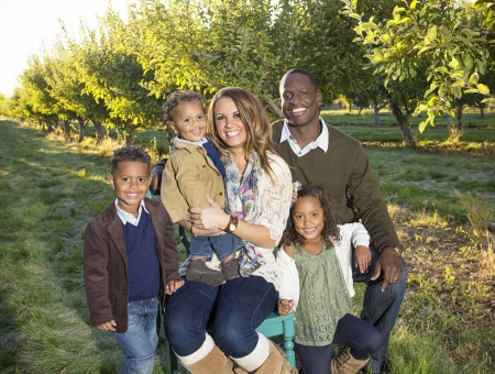 Beautiful Multi Ethnic Family Portrait Outdoors photo