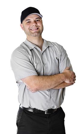 trustworthy: Trustworthy Car Mechanic isolated on white