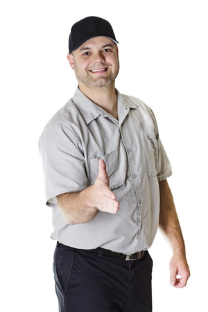 Friendly Car Mechanic ready to shake hands Stock Photo - 24385614