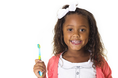 tooth brush: Cute Little Girl Brushing her teeth