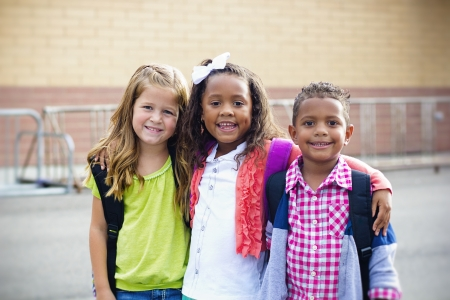 first day: Diverse Children Going to Elementary school