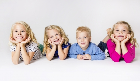 Four Smiling Little kids Portrait