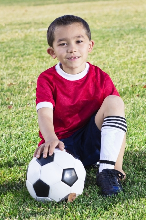 diversity children: Portrait of a Young Hispanic Soccer Player
