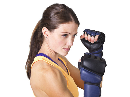 tough girl: Beautiful Woman boxing and fitness training