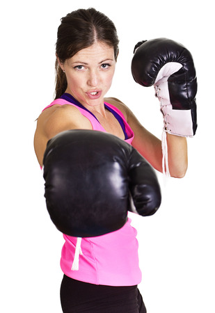 tough girl: Beautiful woman ready to box