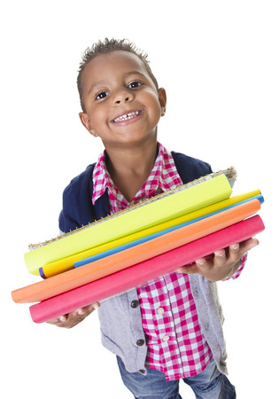attend: Cute Diverse little student carry school books Stock Photo