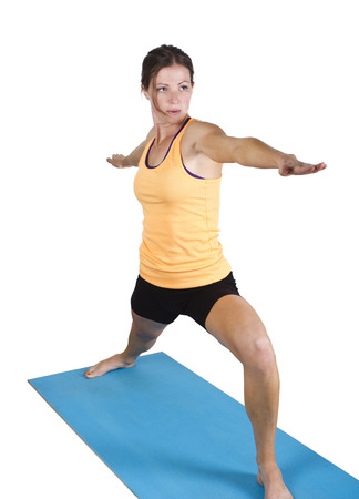 Fit Female stretching and doing yoga photo
