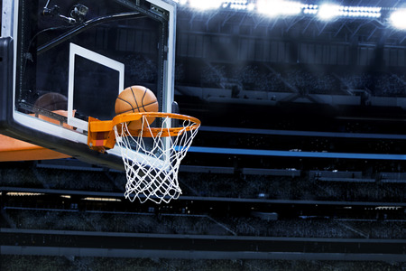 basketball team: Large basketball arena with copy space
