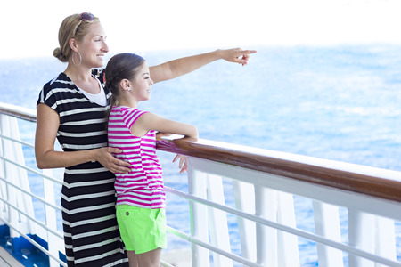 balcony: Family enjoying a cruise vacation together Stock Photo