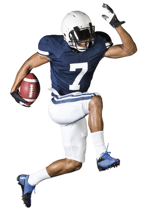bowl game: Running Football Player isolated on white Stock Photo