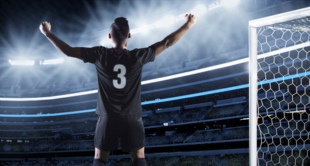 futbol: Ispanico Calciatore festeggiare un gol