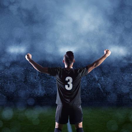 경기의 승리를 축하하는 스페인 축구 선수