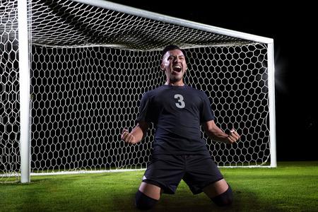 Hispanic Soccer Player celebrating a goal Stockfoto