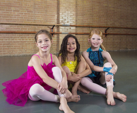 up skirt: Cute young dancers at a dance studio