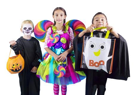 Halloween kind Trick or Treaters Stockfoto