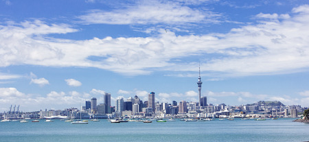 Wide Angle view of Auckland, New Zealand skyline