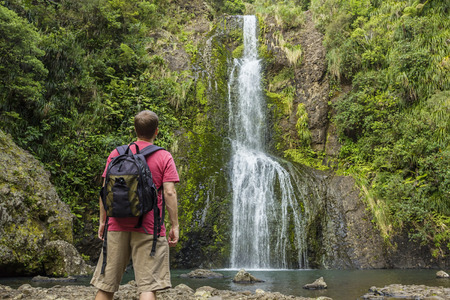 adventuresome: Man looking at scenic waterfall in New Zealand