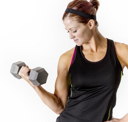 pesas: Fuertes Hermosa aptitud pesas con mancuernas levantamiento mujer