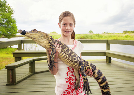 alligator eyes: Cute girl holding a live young crocodile near Florida everglades