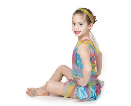 posing: Portrait of a beautiful young ballerina - full length