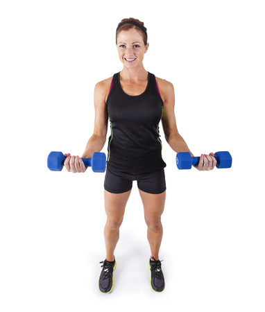 free weights: Fitness woman lifting free weights on a white background