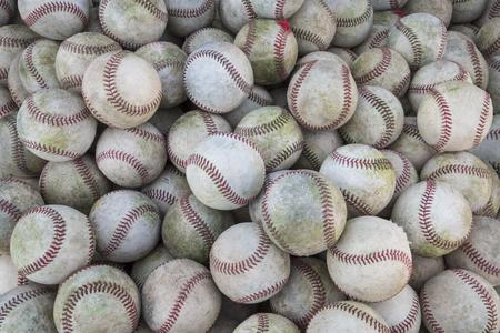 Large Stack of many baseballs. Great Baseball background Archivio Fotografico
