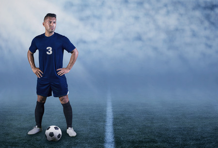 football play: Professional Hispanic Soccer Player on the field ready to play