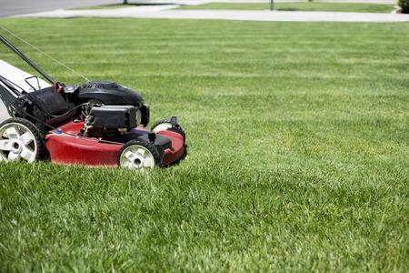 美しい緑の芝生のヤードの前の芝生を刈る