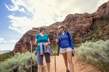 Women hiking together in a beautiful red rock canyon Banco de Imagens