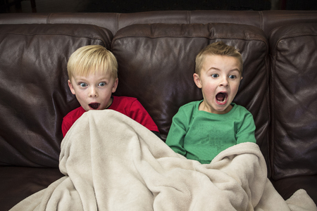 Two excited and happy boys laughing together as they sit on the couch watching television. Stock Photo - 92864907