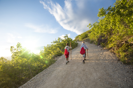 View from behind of two boys hiking up a scenic mountain trail together on early summer day. Active kids having an adventure together at summer camp