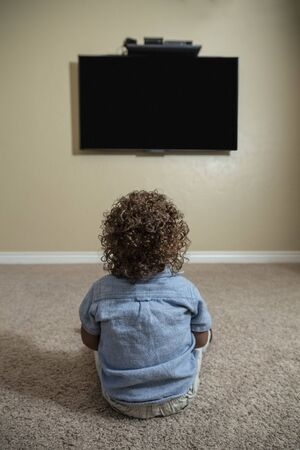 Rear view of a young child watching Television while sitting on the floor of his home. Selective focus on the back of the curly-haired diverse little boy. 写真素材