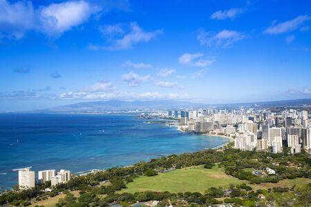 View of Honolulu skyline from Diamond Head lookout, Waikiki beach landscape background. Great Hawaii travel photo. Destination scenic