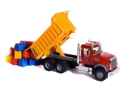 Dump truck toy downloading colorful blocks photo