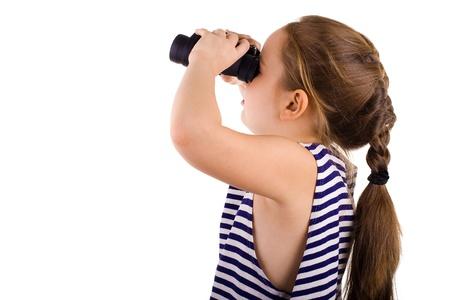 striped vest: Girl in striped vest with binocular
