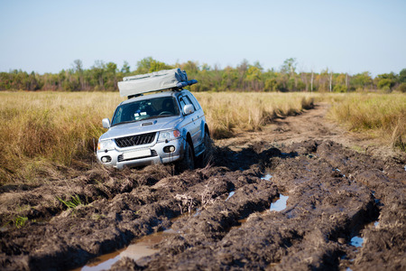 challenger: 4x4 car stuck in mud Stock Photo