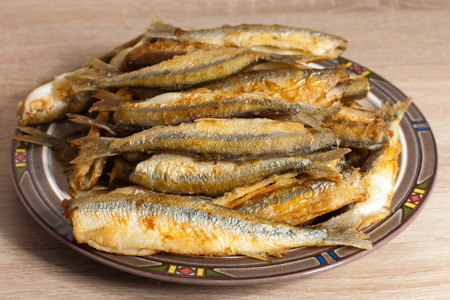 smelt: Golden fried smelt on beautiful plate. Very tasty