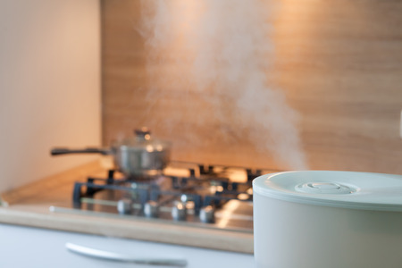 ions: Humidifier spreading steam into the kitchen with pan on the oven