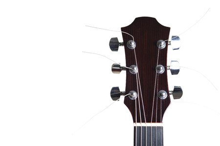 Acoustic guitar with uncircumcised steel strings isolated on white