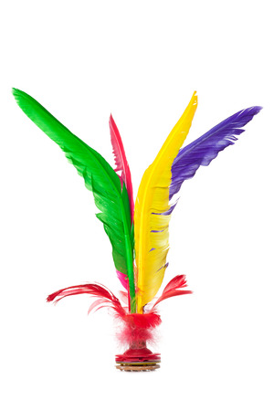 Colorful Feather Chinese Jianzi Kicking Shuttlecock isolated on white