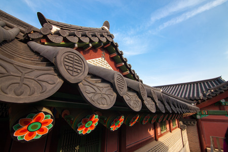 wide angle lens: Traditional Korean houses in Changdeokgung Palace in Seoul Korea. Photo taken with wide angle lens
