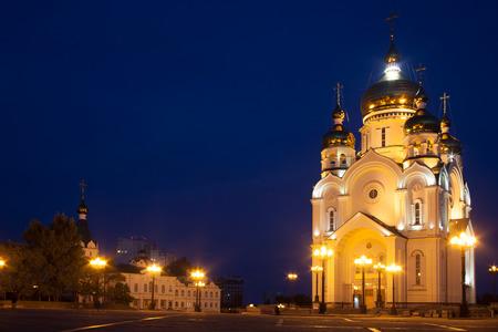 ortodox: Ortodox cathedral in Khabarovsk, Russia in the night Stock Photo