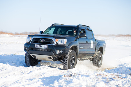 tacoma: KHABAROVSK, RUSSIA - JANUARY 31, 2015: Toyota Tacoma during off road winter sprint race