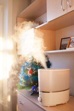 ions: Humidifier spreading steam into the living room