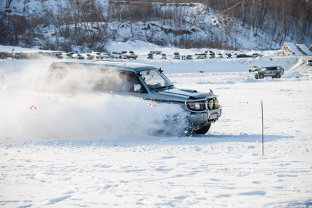 KHABAROVSK, RUSSIA - JANUARY 28, 2017: Mitsubishi Pajero riding on snow during local championship