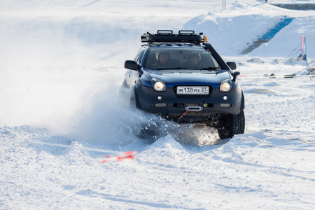 KHABAROVSK, RUSSIA - JANUARY 28, 2017: Isuzu Vehicross riding on snow during local championship