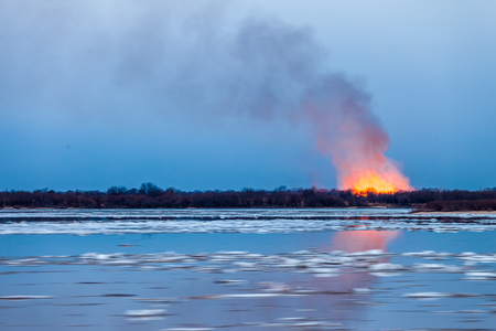 Forest fire in the spring during ice drift Stock Photo