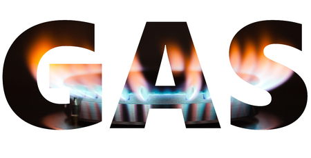 Gas word with burner flame background isolated on white